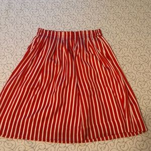 J Crew Pleated Red White Striped Skirt